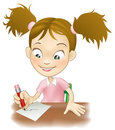 Young girl writing at her desk Royalty Free Stock Image