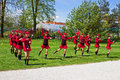 Young girls dancing at tulip exhibition at kamnik slovenia Stock Images