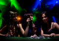 Young girls on disco in night club Royalty Free Stock Photo