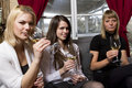 Young girls having dinner in fancy restaurant Royalty Free Stock Photo
