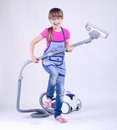 Young girls having fun cleaning Royalty Free Stock Photo