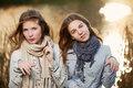 Young girls on nature teenage against an autumn background Stock Image