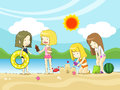Young girls playing on the beach vector and children create by Royalty Free Stock Photography