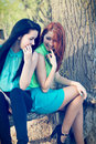 Young girls portrait of two attractive Royalty Free Stock Photography