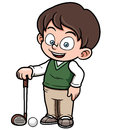 Young golf player vector illustration of Royalty Free Stock Image