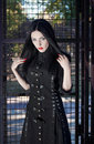 image photo : Young gothic style brunette woman in black dress