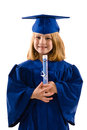 Young graduate her cap gown clutching her diploma smiling isolated white vertical layout copy space Stock Images