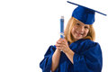 Young graduate her cap gown leaning her head to side clutching her diploma smiling isolated white horizontal layout copy space Royalty Free Stock Image
