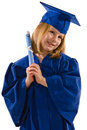 Young graduate her cap gown leaning her head to side clutching her diploma smiling isolated white vertical layout copy space Stock Photography