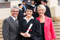 Young graduate parents pretty with happy at graduation ceremony Stock Photo