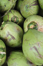 Young green coconuts piled up in a thia fruit market Royalty Free Stock Photography
