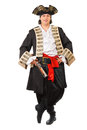 Young grinning man in pirate costume isolated on white Stock Photos