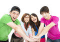Young group with hand together happy Royalty Free Stock Photo