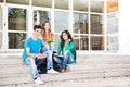 Young group of students in campus school Royalty Free Stock Photos