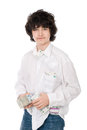 Young guy holds batch of money Royalty Free Stock Image
