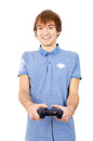 Young guy plays in the video games isolated on white background Royalty Free Stock Photography