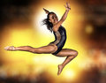 Young gymnast girl jumping on special outfit Stock Photos