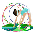 The young gymnast and  hoops Stock Photos