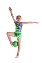 Young gymnast stand with green ball Royalty Free Stock Photos