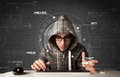 Young hacker in futuristic enviroment hacking personal informati information on tech background Stock Images