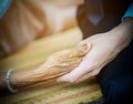 Young hand hold hands of eldery woman Royalty Free Stock Photo