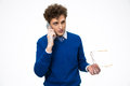 Young handsome business man talking on the phone Royalty Free Stock Photo