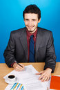 Young handsome businessman working with documents Royalty Free Stock Photography