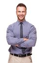 Young handsome man smiling isolated on white Royalty Free Stock Photo