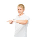 Young and handsome teenage boy pushing an imaginary button invisible isolated on white Royalty Free Stock Images