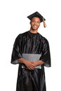 Young happy african american male graduate student holding graduation certificate expression Royalty Free Stock Photos