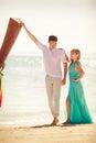 Young happy asian couple on honeymoon beautiful island Stock Images