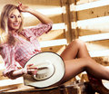 Young, happy and beautiful cowgirl in sexy underwear Royalty Free Stock Photo
