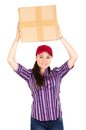 Young happy beautiful delivery girl carrying
