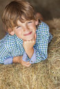 Young happy boy smiling on hay bales wearing a plaid shirt and laying of or straw Royalty Free Stock Photos