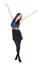 Young happy brunette hands up celebrating victory isolated white background Stock Images