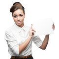 Young happy business woman holding sign isolated on white Stock Images
