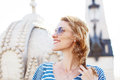Young happy carefree woman redhead in sunglasses Royalty Free Stock Photos