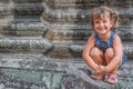Young happy child girl, smiling portrait, Angkor wat, cambodia Royalty Free Stock Photo