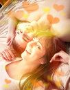 Young happy couple in bed valentine s day Stock Photo