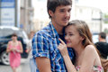 Young happy couple in city Royalty Free Stock Photo