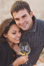 Young happy couple enjoying picnic with white wine on the beach together Stock Photography