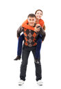 Young and happy couple hanging out together caucasian image taken in a studio Royalty Free Stock Images
