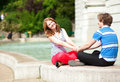 Young happy couple holding hands Stock Photos