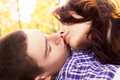 Young happy couple kissing Royalty Free Stock Photo