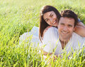 Young happy couple in love in spring day Stock Photo