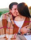 Young happy couple in love in summer day outdoors portrait Stock Image