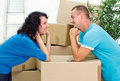 Young happy couple moving smiling at new home Royalty Free Stock Photography