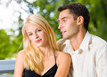 Young happy couple, outdoors Stock Images