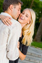Young happy couple, outdoors Royalty Free Stock Images