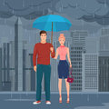 Young Happy couple pair standing under the umbrella in the street in dark grey rainy day vector illustration.